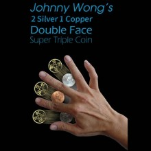 Magic with Coins 2 Silver 1 Copper Double Face Super Triple Coin (with DVD) by Johnny Wong TiendaMagia - 1