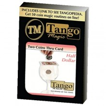 Dos monedas a través de la carta Medio Dólar - Tango Magic